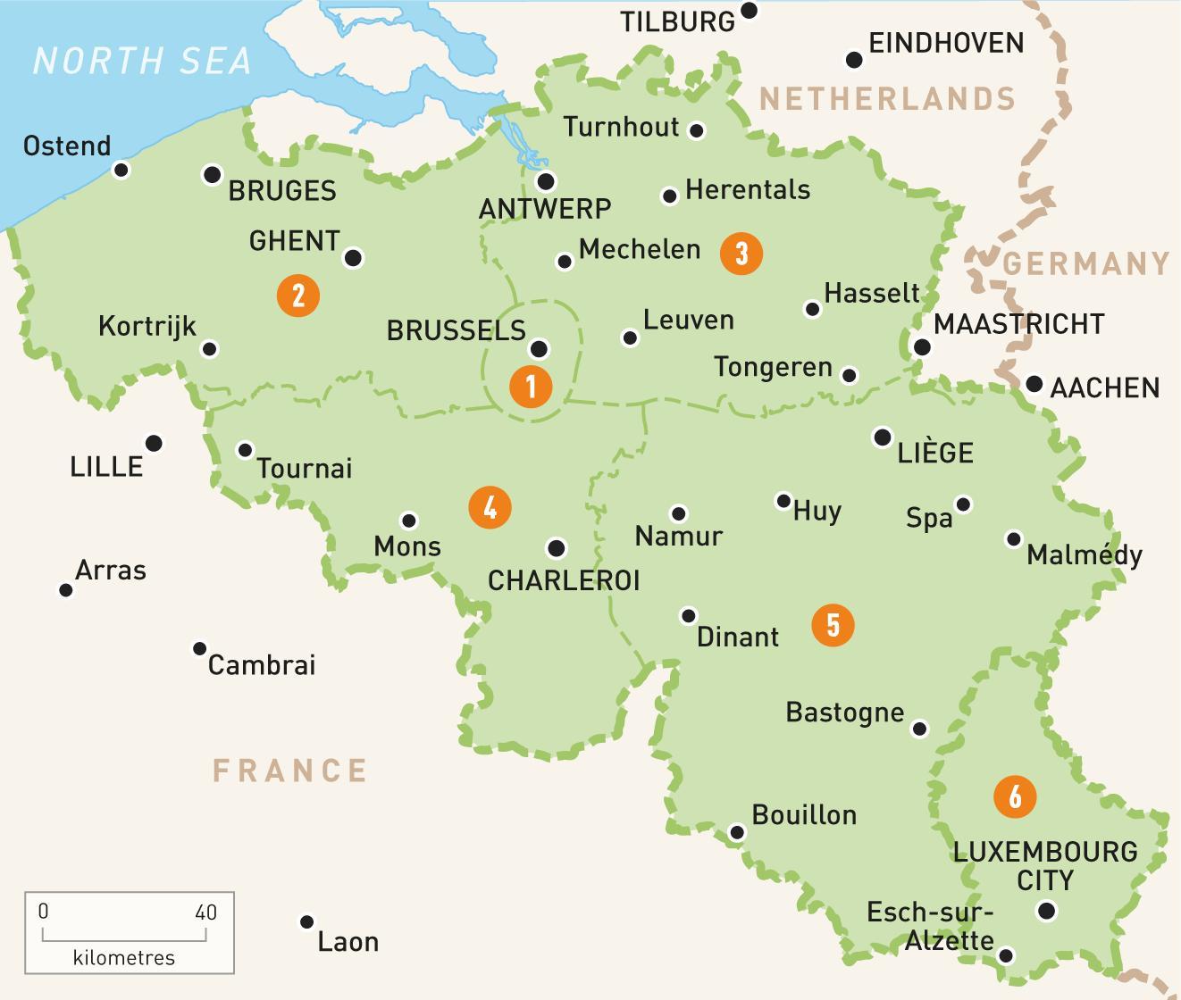 mapa de brujas y bruselas