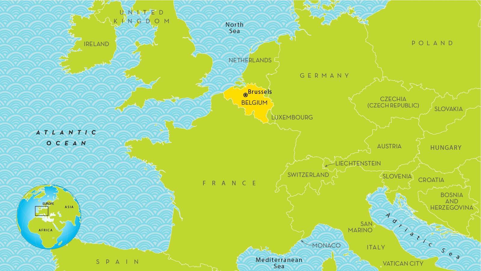 mapa de bruselas en europa